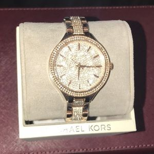 Michael Kors gold rose crystal pave watch